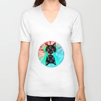 hippy V-neck T-shirts featuring Hippy Cats #2 by Lauren Miller