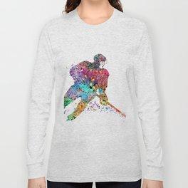 Girl Ice Hockey Sports Art Print Long Sleeve T-shirt