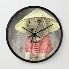 Shar Pei on the Great Wall Wall Clock