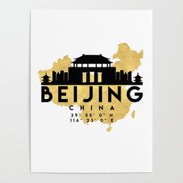 BEIJING CHINA SILHOUETTE SKYLINE MAP ART Poster