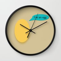 egg Wall Clocks featuring EGG by Ana Sánchez