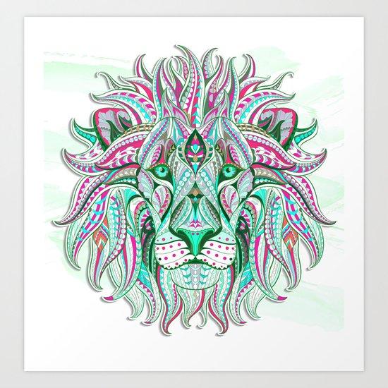 Sea Green Ethnic Lion Art Print