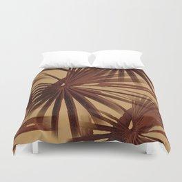 Burgundy and Coffee Tropical Beach Palm Vector Duvet Cover