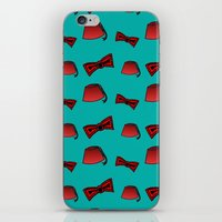fez iPhone & iPod Skins featuring Red Fez & Bow Tie (on teal green) by Bohemian Bear by Kristi Duggins