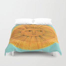 Sun Drawing - Gold and Blue Duvet Cover