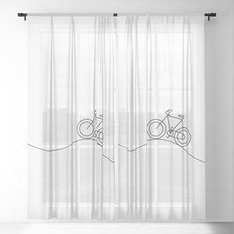 Bike on rolling hills Sheer Curtain
