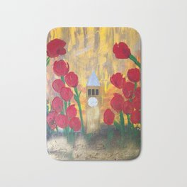 150 Years of CU - An Alumni Anniversary Tribute with Red Tulip Flowers Bath Mat