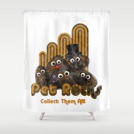 Pet Rocks - Seventies Geology Joke Design Shower Curtain
