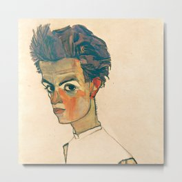 "Egon Schiele ""Self-Portrait with Striped Shirt"" Metal Print"