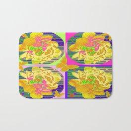 Yellow Summer Monarch  Butterfy Rose Abstract Bath Mat