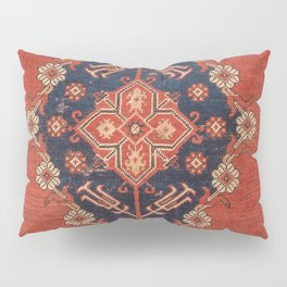 Southwest Tuscan Shapes II // 18th Century Aged Dark Blue Redish Yellow Colorful Ornate Rug Pattern Pillow Sham