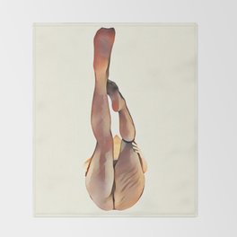 8283s-SLG Legs Up Woman in Mesh Stockings Watercolor Render Throw Blanket