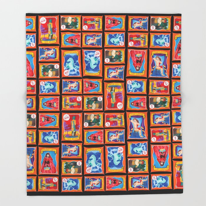 Sideshow Banner Multi-Print Pattern on Black Throw Blanket