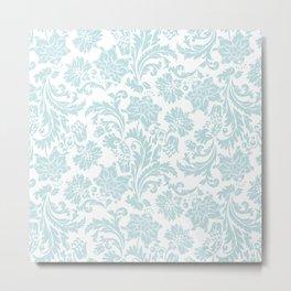 Light Blue & White Floral Damasks Metal Print