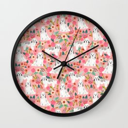 Havanese Floral - dog, dogs, cute dog, white dog, flowers, florals, pink floral Wall Clock