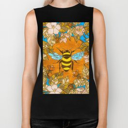 Bumblebee In Wild Rose Wreath Biker Tank