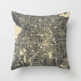 Orlando Map yellow Throw Pillow