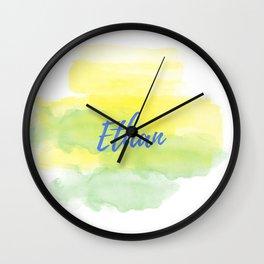 Yellow Green Watercolor Ethan Wall Clock