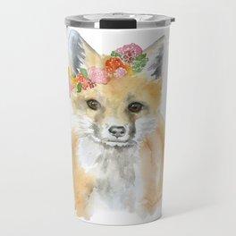 Fox Floral Watercolor Painting Travel Mug