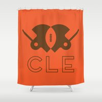 cleveland Shower Curtains featuring Cleveland Football by John Trivelli