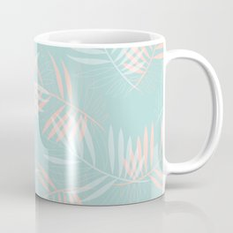 Palm Leaves Lace on Aqua Coffee Mug