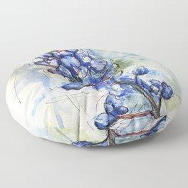 Spring Watercolor Texas Bluebonnet Flowers Floor Pillow