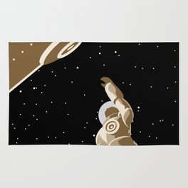 astronaut falling from lock dock Rug