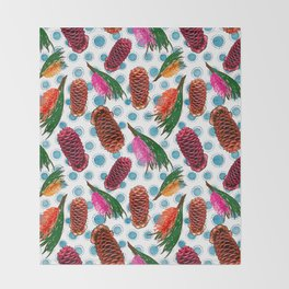 Beautiful Australian Native Floral Print - Grevillea and Beehive Ginger Throw Blanket