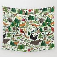 woodland Wall Tapestries featuring Woodland by Emma Jansson