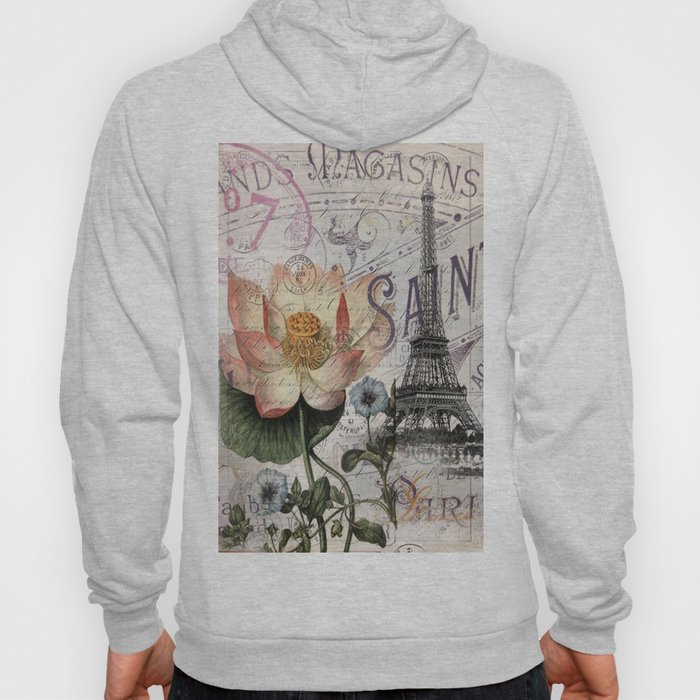 french scripts lotus floral vintage paris eiffel tower Hoody