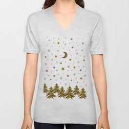Sparkly Christmas tree, moon, stars Unisex V-Neck
