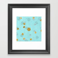 Treasures on aqua - Gold glitter polkadots on turquoise background Framed Art Print