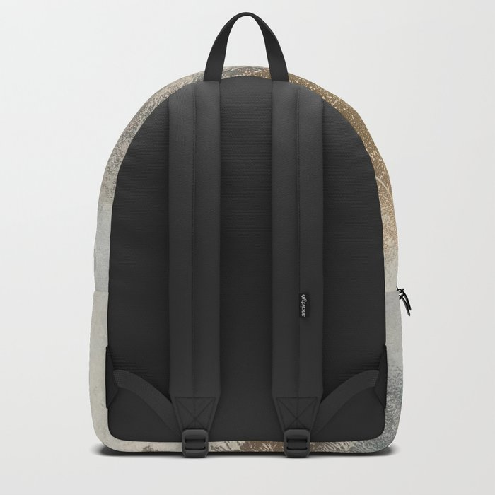 Embrace: a minimal, abstract mixed-media piece in blues and gold with a hint of pink Backpack
