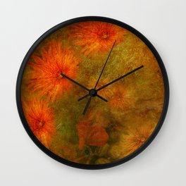 """Golden Manila Flowers"" Wall Clock"