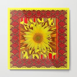 DECORATIVE PATTERN YELLOW SUNFLOWER RED ART Metal Print