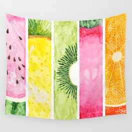 Summer Fruits Watercolor Abstraction Wall Tapestry