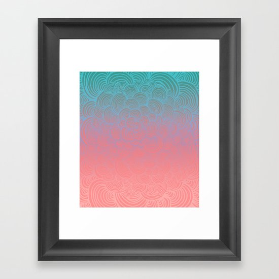 Ombre Clam Shells - Mint, Peach, Purple and Pink Framed Art Print