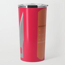 """X-actos & Bandages"" Surviving Art School Badge Travel Mug"