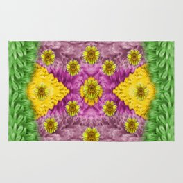 Sun flowers in the fields of love Rug