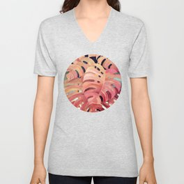 Monstera Love in Magenta and Coral - oil painting Unisex V-Neck