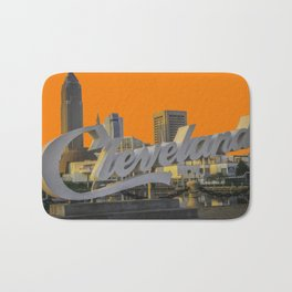 Cleveland Ohio Script Sign Browns Football Colors Bath Mat