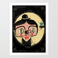 PIGnocchio and the blue fairy / pinocchio pig Art Print