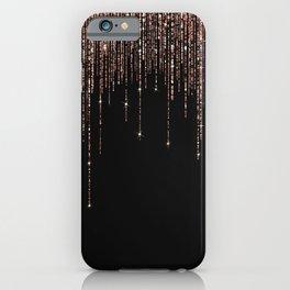 Luxury Black Rose Gold Sparkly Glitter Fringe iPhone Case
