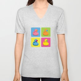 Rubber Duckies Pop Art Unisex V-Neck