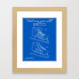 Hockey Skate Patent - Blueprint Framed Art Print