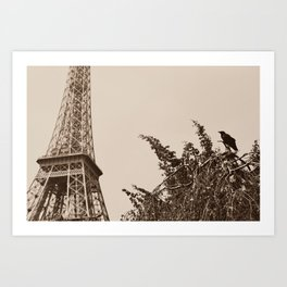 Crow perched in front of the Eiffel Tower Art Print