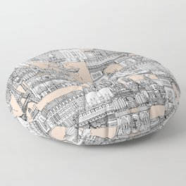Paris toile sugar pink Floor Pillow