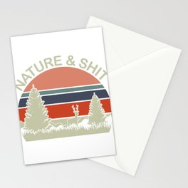 """Retro  Shooting Tee For Hunters Saying """"Nature & Shit"""" T-shirt Design Hunting Rifle Deer Mountains Stationery Cards"""