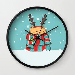 Christmas Cat Wall Clock