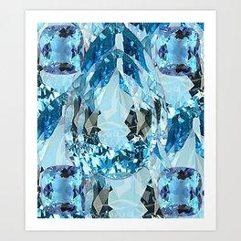 March Babies Blue Aquamarine Gems Abstract design. Art Print